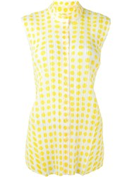 Pleats Please By Issey Miyake Ribbed Effect Dots Print Shirt White