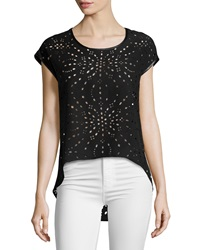 Alberto Makali Laser Cut High Low Tee Black