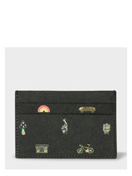 Paul Smith Men's Black Leather 'Cufflink Charm' Print Credit Card Holder