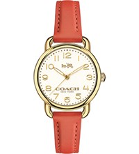Coach 14502253 Dalaney Gold Plated Stainless Steel And Leather Watch White
