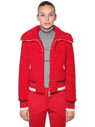 Marco De Vincenzo Faux Shearling Bomber Jacket Red