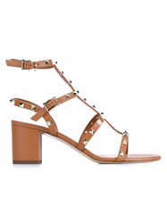 Valentino Garavani 'Rockstud' Sandals Brown