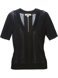 Burberry London Fitted V Neck Top Black
