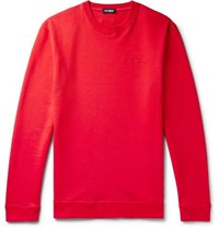 Raf Simons Printed Embroidered Loopback Cotton Jersey Sweatshirt Red