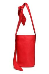 Elena Ghisellini Woman Knotted Textured Leather Bucket Bag Tomato Red