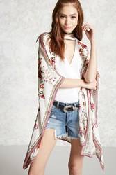 Forever 21 Floral Open Front Kimono Cream Red