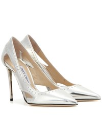 Jimmy Choo Vienna 100 Embellished Metallic Leather Pumps Silver
