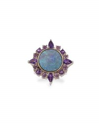 Stephen Dweck One Of A Kind Fire Opal And Amethyst Cocktail Ring
