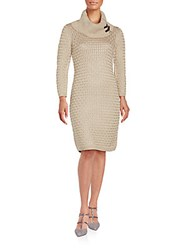 Calvin Klein Cowlneck Sweater Sheath Dress Khaki