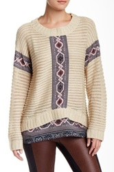 Hale Bob Printed Woven Contrast Sweater Beige