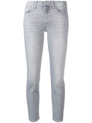 7 For All Mankind Slim Illusion Cropped Jeans Grey