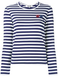 Comme Des Garcons Play Striped Longlseeved T Shirt Blue