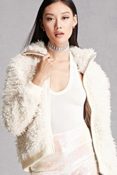 Forever 21 Angie Faux Fur Bomber Jacket Cream