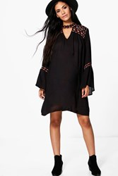 Boohoo Sally Boutique Embroidered Wide Sleeve Swing Dress Black