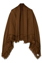 Burberry Fringed Silk And Wool Blend Jacquard Scarf Chocolate