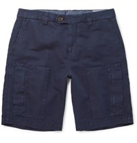 Brunello Cucinelli Linen And Cotton Blend Twill Cargo Shorts Navy