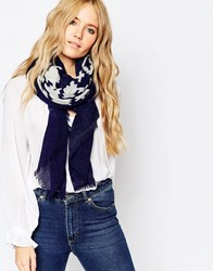 Pieces Ombre Print Oversized Scarf Lunar Blue Navy