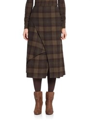 Ralph Lauren Plaid Cashmere Wrap Skirt Dark Loden Purple Multi