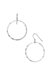 Argentovivo Medium Hammered Hoop Earrings Sterling Silver High Polish