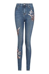 Topshop Tall Floral Embroidered Jamie Jeans Mid Stone