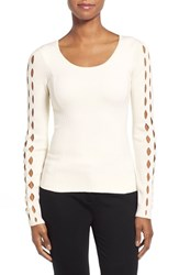 Women's Tahari 'Jenna' Cutout Sleeve Merino Wool Sweater Antique