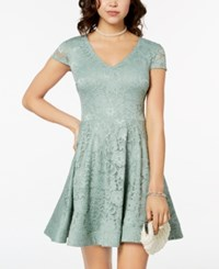B. Darlin B Juniors' Tie Back Lace Fit And Flare Dress Sage