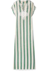 Tory Burch Awning Embroidered Striped Linen Gauze Kaftan Blue