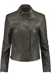 J Brand Marshall Quilted Leather Jacket Brown