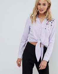 Urban Bliss Embroidered Shirt Blue