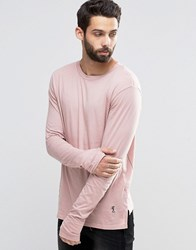 Religion Long Sleeve T Shirt With Stepped Front Brulee Brown