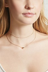 Forever 21 Heart Charm Layered Choker Set Gold