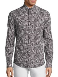 Versace Traditional Fit Paisley Graphic Sportshirt Black