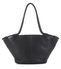 The Row Market 20 Leather Tote Black