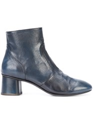 Silvano Sassetti Almond Toe Ankle Boots Women Leather 37.5 Blue