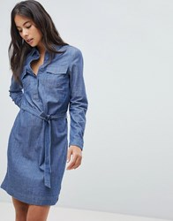 Oasis Tie Waist Denim Shirt Dress Blue