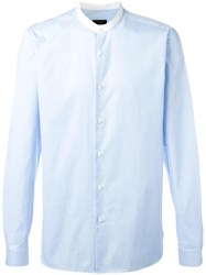 Z Zegna Band Collar Shirt Blue