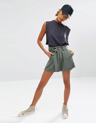Daisy Street Casual Shorts With D Ring Detail Khaki