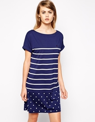 Fred Perry Stripe And Spot T Shirt Dress Frenchnavy