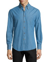 Brunello Cucinelli Slim Fit Cotton Denim Shirt Light Blue