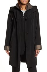 Gallery Women's A Line Raincoat With Detachable Hood And Liner Black Gunmetal