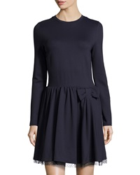 Red Valentino Bow Waist Long Sleeve Ponte Dress Navy