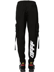 Off White Nylon Cargo Parachute Pants Black