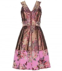 Erdem Flora Metallic Jacquard Dress Pink