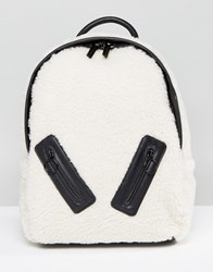 Skinnydip Faux Shearling Backpack With Zip Detail Cream