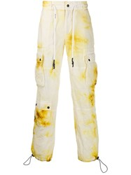 Palm Angels Tie Dye Cargo Trousers Yellow