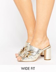 Asos Heavenly Wide Fit Bow Mules Gold