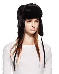 Surell Rabbit Fur Trapper Hat Black
