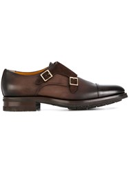 Santoni Gold Buckle Monk Shoes Calf Leather Leather Rubber Brown