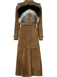 Red Valentino Belted Fur Panel Coat Brown