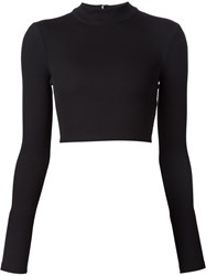 Tanya Taylor Cropped Ribbed Sweater Black